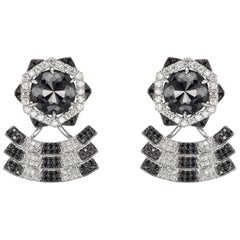 18 Karat White Gold and Diamond Stud Earring with Black Rhodium