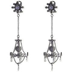 18 Karat White Gold and Diamond Victorian Style Chandelier Drop Earrings