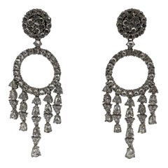 18 Karat White Gold and Diamond Vintage Estate Chandelier Style Earrings