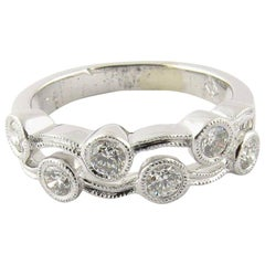 18 Karat White Gold and Diamond Wave Double Band Ring