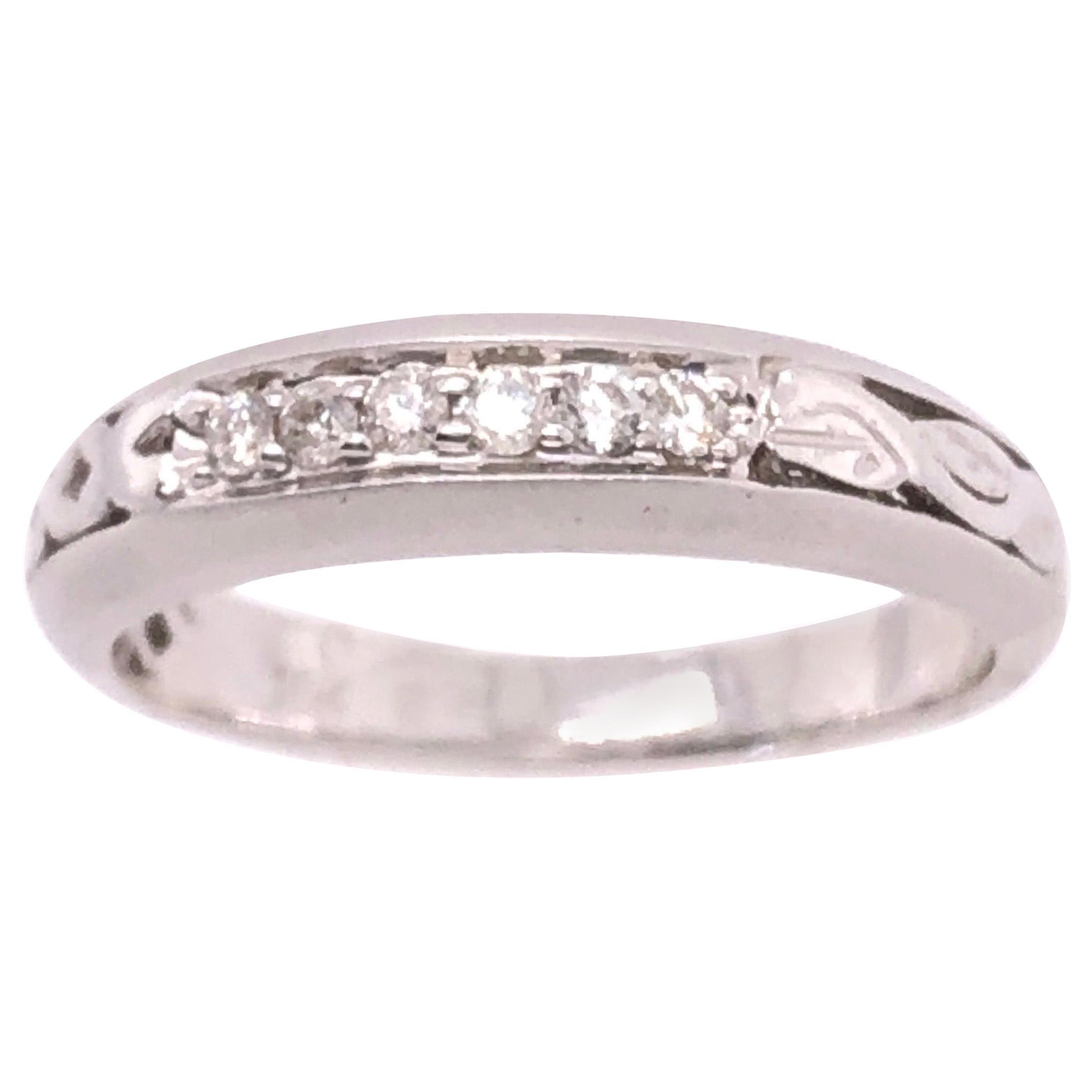18 Karat White Gold and Diamond Wedding Band Bridal Ring