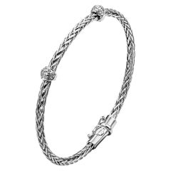 18 Karat White Gold and Diamond Wheat Style Bangle Bracelet