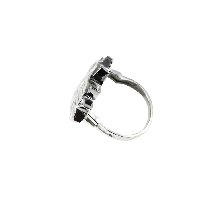 18K White Gold and Diamonds Heart Shape Engagement Cocktail Contemporary Ring  In New Condition For Sale In San Sebastián, ES