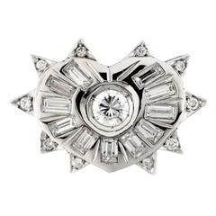 18 Karat White Gold and Diamonds Heart Ring or Engagement, Bridal Ring
