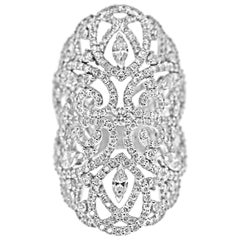 18 Karat White Gold and Diamonds Lace Statement Ring