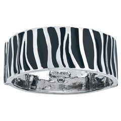 "18 Karat White Gold and Enamel Bangle Bracelet ""Zebra"" Style"
