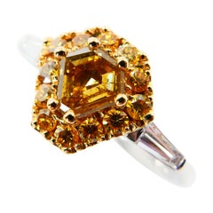 18 Karat White Gold and Fancy Vivid Yellow Diamond Cocktail Ring