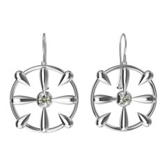 18 Karat White Gold and GIA Diamond Teardrop Earrings