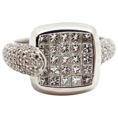 18 Karat White Gold and Invisible or Pave Set of Diamond Fashion Ring