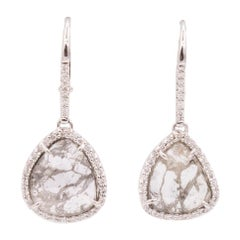 18 Karat White Gold and Natural Diamond Slice Drop Earrings