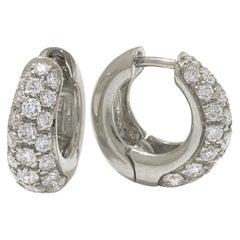 18 Karat White Gold and Pavè Diamond Garavelli Huggie Earrings