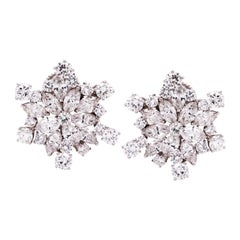 18 Karat White Gold and Platinum Stud Earrings with Round and Marquise Diamonds