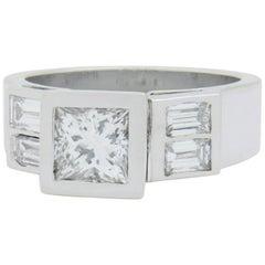 18 Karat White Gold and Princess Cut Diamond Ring