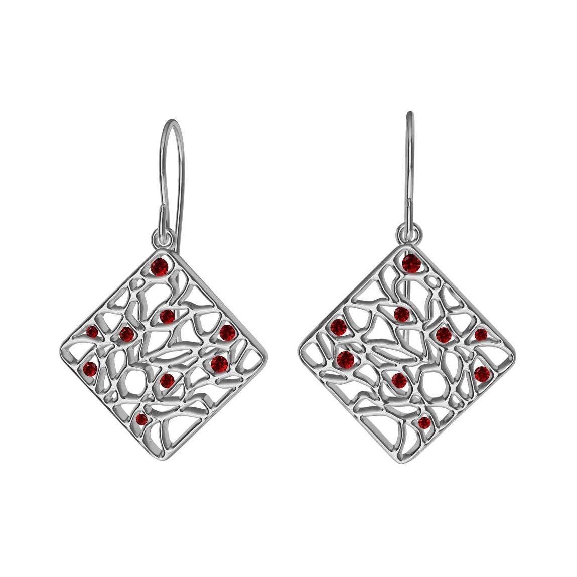 18 Karat White Gold and Rubies Seaweed Dangle Earrings