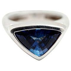 18 Karat White Gold and Trillion-Cut Tanzanite Ring with Diamonds