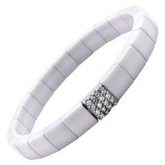18 Karat White Gold and White Ceramic Diamond Stretch Bracelet