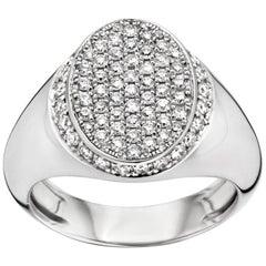 18 Karat White Gold and White Diamond Signet Ring