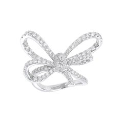 18 Karat White Gold and White Diamonds Bow Cocktail Ring