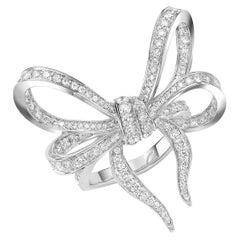 18 Karat White Gold and White Diamonds Bow Cocktail Ring