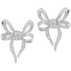 18 Karat White Gold and White Diamonds Bow Earrings