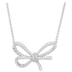 18 Karat White Gold and White Diamonds Bow Pendant