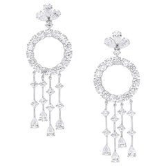 18 Karat White Gold and White Diamonds Chandelier Earrings