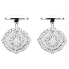 18 Karat White Gold and White Diamonds Cufflinks