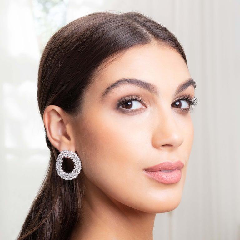 Romantic 18 Karat White Gold and White Diamonds Earrings For Sale