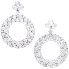 18 Karat White Gold and White Diamonds Earrings