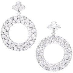 18 Karat White Gold and White Diamonds Earrings