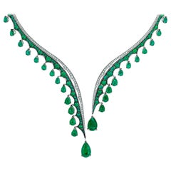 18 Karat White Gold and White Diamonds Ethically Sourced Emeralds Necklace