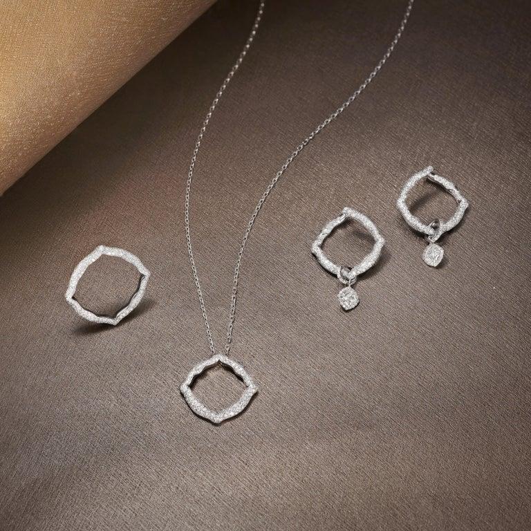 Cushion Cut 18 Karat White Gold and White Diamonds Hoop Earrings
