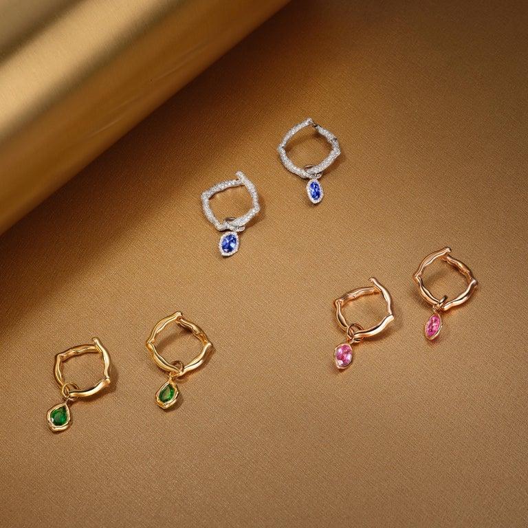 Women's 18 Karat White Gold and White Diamonds Hoop Earrings