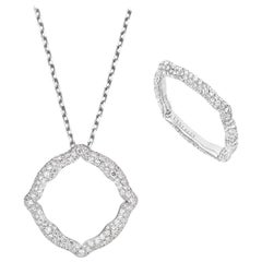 18 Karat White Gold and White Diamonds Pendant and Ring