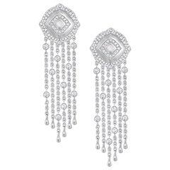 18 Karat White Gold and White Diamonds Small Fringe Earrings