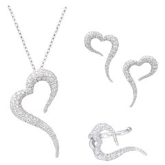 18 Karat White Gold and White Diamonds Small Heart Earrings, Pendant and Ring