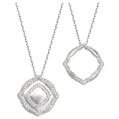 18 Karat White Gold and White Diamonds Stackable Pendants