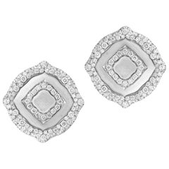 18 Karat White Gold and White Diamonds Stud Earrings
