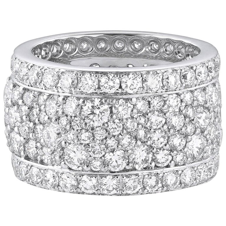 18 Karat White Gold and White Diamonds Wide Band Ring For Sale