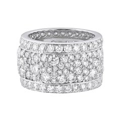 18 Karat White Gold and White Diamonds Wide Band Ring