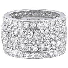 18 Karat White Gold and White Diamonds Wide Band Ring