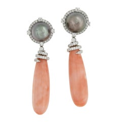 18 Karat White Gold Angelskin Coral and Tahitian Gray Pearl Earrings by Assael