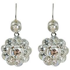 18 Karat White Gold Antique Diamond Cluster Flower Drop Earrings