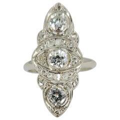 18 Karat White Gold Antique Diamond Navette Ring