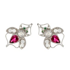 18 Karat White Gold Antique Ruby Bee Stud Earrings