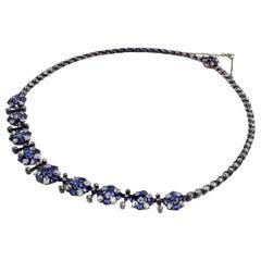 18 Karat White Gold Antique Sapphire Necklace AGL Certified