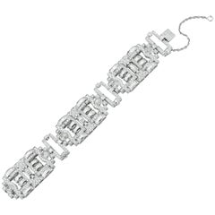 18 Karat White Gold Antique Style Diamond Bracelet