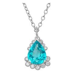 Eighteen Karat White Gold Pear Shaped Apatite and Diamond Pendant Necklace