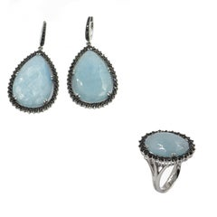 18 Karat White Gold Aqua and Black Diamonds Garavelli Earrings and Ring Set