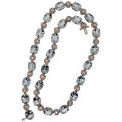 18 Karat White Gold, Aquamarine '51.60 Carat', Diamond '5.31 Carat' Necklace